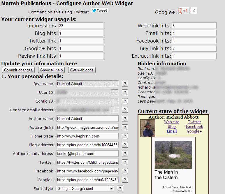 Screenshot of configuring the author web widget